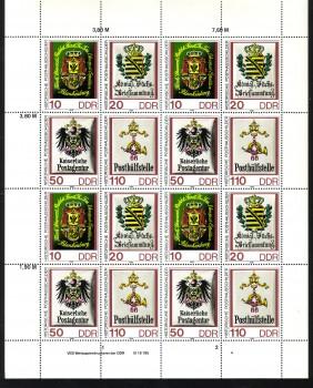 DDR Michelnummer 3306 - 3309 Kleinbogen postfrisch