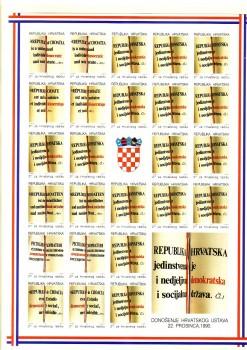 Kroatien Zwangszuschlag Michelnummer 14 - 19 B Kleinbogen postfrisch