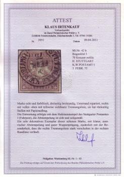 Wuerttemberg Michelnummer 42 b gestempelt FA
